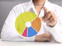 Pressing pie chart button. Businessman hand pressing  chart button Stock Photos