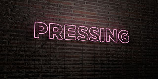 PRESSING -Realistic Neon Sign on Brick Wall background - 3D rendered royalty free stock image. Can be used for online banner ads and direct mailers Royalty Free Stock Photo