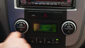 Pressing Red Triangle Car Emergency Lights Button stock video footage