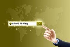 Pressing Search button. Contact us concept, businessman pressing contact button on virtual screen Stock Photos