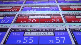 Pressing sell button forex stock market quotes ticker board close up - new quality financial business data screen. Stock forex market quotes ticker board - new stock footage