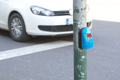 Pressing sensor of pedestrian light Royalty Free Stock Photos