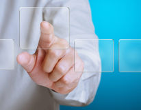 Pressing a touchscreen button Stock Image