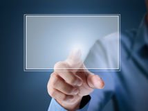Pressing touchscreen button. Man pressing  touchscreen a button Stock Photography
