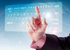 Pressing virtual Keyboard Stock Photography