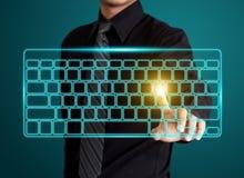 Pressing virtual type of keyboard. Business man pressing virtual type of keyboard Royalty Free Stock Photo