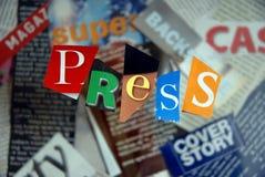 Pressione, escrito imagens de stock