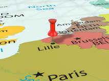 A pressione sulla mappa di Lille Immagini Stock Libere da Diritti