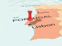 A pressione sulla mappa di Lisbona Immagini Stock