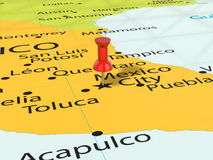 A pressione sulla mappa di Messico City Immagine Stock