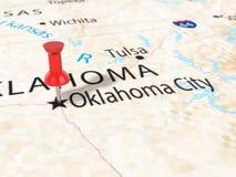 A pressione sulla mappa di Oklahoma City Fotografia Stock