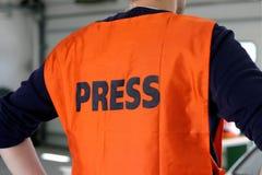Pressione a veste da segurança Fotografia de Stock Royalty Free
