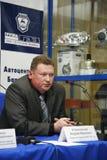 Presskonferens för journalister med deltagande av ledningen av Gorky den auto växten Fotografering för Bildbyråer