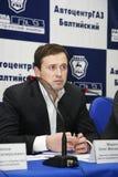 Presskonferens för journalister med deltagande av ledningen av Gorky den auto växten Arkivfoton