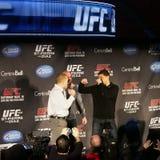 Presskonferens för UFC 158 Fotografering för Bildbyråer
