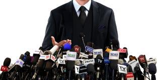 Presskonferens med massmedia Royaltyfria Foton
