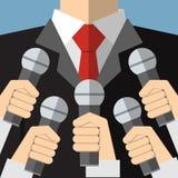 Presskonferens med massmediamikrofoner Royaltyfri Fotografi