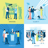Pressman And Journalist Concept Icon Set Stock Image