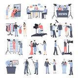 Pressman And Operator Icon Set Royalty Free Stock Photography