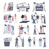 Pressman And Operator Icon Set Royalty Free Stock Photography