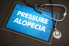 Pressure alopecia (cutaneous disease) diagnosis medical concept. On tablet screen with stethoscope Royalty Free Stock Image