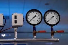 Pressure clocks. Pressure measurement instruments stock photography