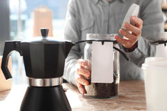 Pressure coffee percolator coffee makers. Cafe, barista chooses a species of coffee to brew the coffee machine pressure Stock Photo
