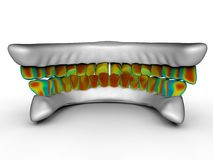 Pressure concept on jaws with teeth. 3D render illustration of the concept of having pressure on your teeth. The composition is isolated on a white background Royalty Free Stock Image