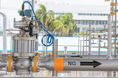 Pressure control valve in pipeline Stock Image