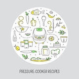 Pressure cooker card template. Pressure cookers and products. Vector card template with hand drawn elements. Clean doodle background. For banners and posters Stock Images