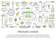 Pressure cooker elements. Pressure cookers and accessories. Hand drawn elements. Vector horizontal banner template. Doodle background. For banners and posters Stock Photography