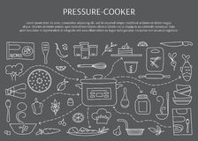 Pressure cooker elements. Pressure cookers and accessories. Hand drawn elements. Vector horizontal banner template. Doodle background. For banners and posters Royalty Free Stock Image