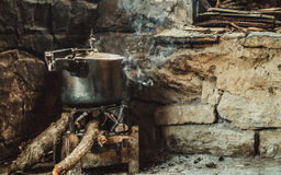 Pressure Cooker on Firewood Coal Royalty Free Stock Images