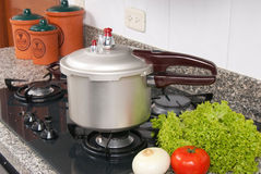 Pressure cooker. In the kitchen Royalty Free Stock Photography