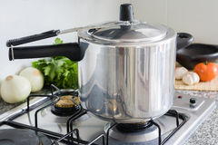 Pressure Cooker. In a Kitchen setting Royalty Free Stock Image