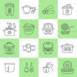 Pressure cookers set. Hand drawn thin line icons set, vector illustration. Pressure cookers and accessories. Modern kitchenware. Isolated symbols. Simple mono Stock Photography