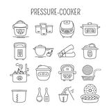 Pressure cookers set. Hand drawn thin line icons set, vector illustration. Pressure cookers and accessories. Modern kitchenware.  symbols. Black on white Stock Images