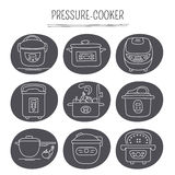 Pressure cookers set. Hand drawn thin line icons set, vector illustration. Pressure cookers. Isolated symbols. White on black pictograms. Simple mono linear Royalty Free Stock Photo