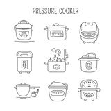 Pressure cookers set. Hand drawn thin line icons set, vector illustration. Pressure cookers.  symbols. Black on white pictograms. Simple mono linear modern Stock Photos