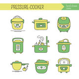 Pressure cookers set. Hand drawn thin line icons set, vector illustration. Pressure cookers.  symbols. Colored pictograms. Simple mono linear modern design Royalty Free Stock Image