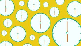 Flat white clocks different size with moving arrows on yellow background.