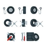 Pressure diagnostic and replacement wheels tools. Automobile tires, discs vector icons set. Car service design elements. Pressure diagnostic and replacement Stock Photography