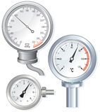 Pressure divices. Vector Analog Devices-stethoscope, thermometer, pressure gauge royalty free illustration