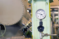 Pressure gage. Pressure gage with black valve stock photo