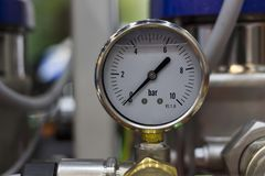 Pressure gage oil pressure gage. Selective focus royalty free stock photos