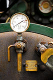 Pressure gauge. Steam powered traction engine boiler pressure gauge stock photo