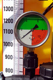 Pressure gauge. And white division on yellow background Stock Photo