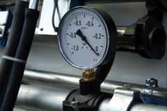 Pressure gauge. With silver pipe and hose Stock Photos