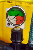 Pressure gauge. With coloured scale Royalty Free Stock Photography