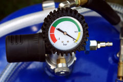Pressure gauge. Pressure measuring with pressure gauge Stock Image